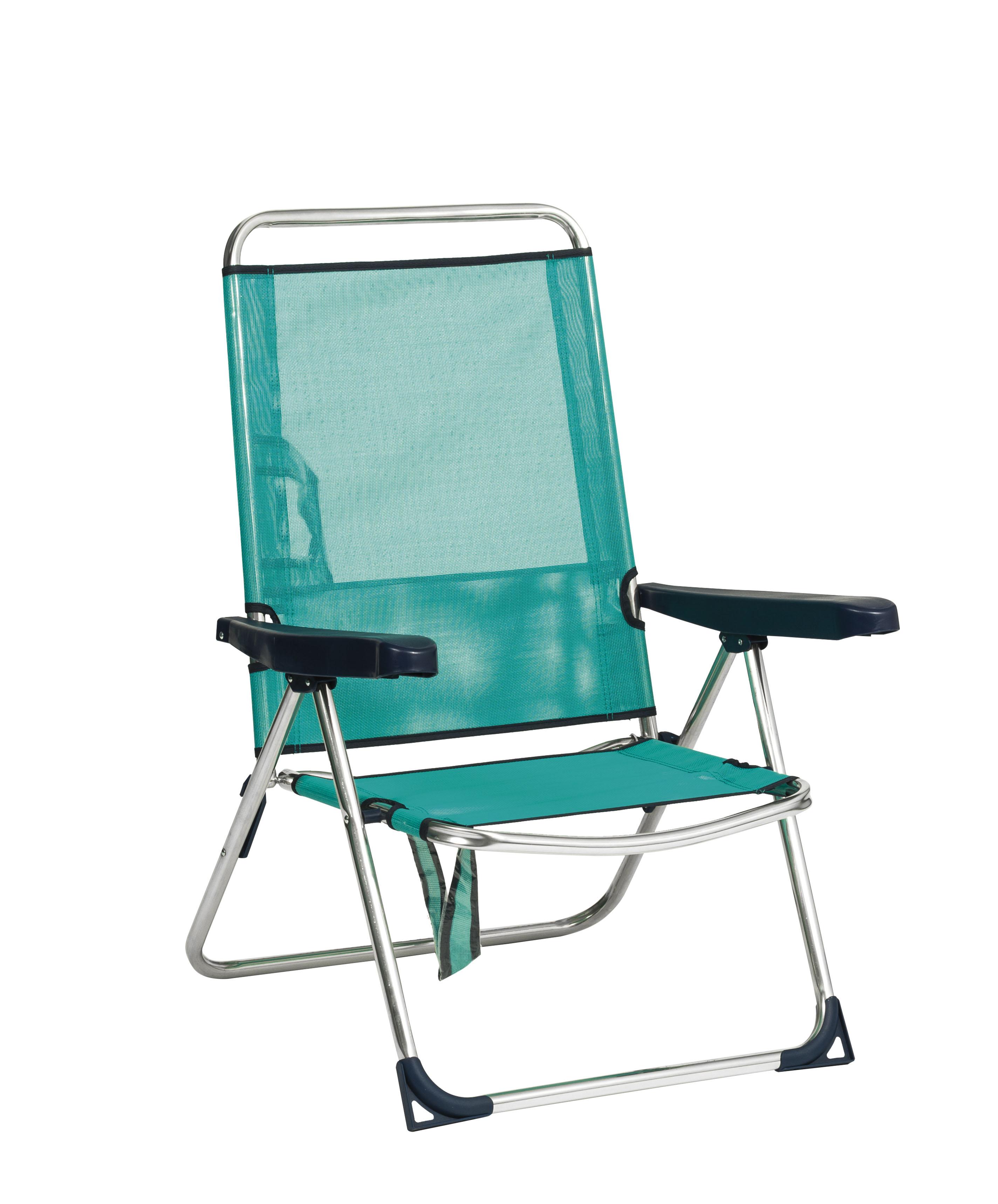 High Beach Chair Aluminium Textilene Low Back 0030